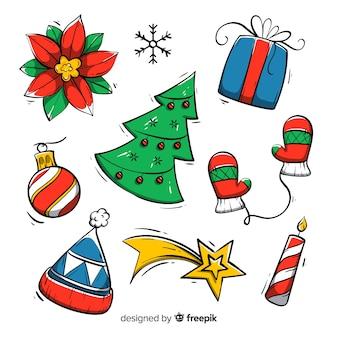 Colección de elementos navideños dibujados a mano sobre fondo blanco