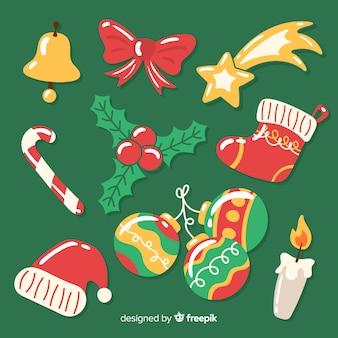 Colección de elementos navideños dibujados a mano