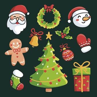 Colección elementos navideños dibujados a mano