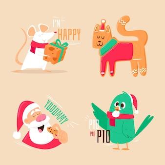 Colección de elementos navideños dibujados