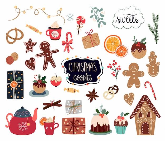 Colección de elementos navideños con diferentes dulces y artículos de temporada aislados sobre fondo blanco.