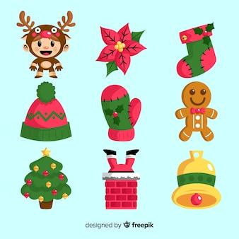 Colección de elementos navideños de diseño plano