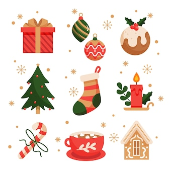 Colección de elementos navideños en diseño plano