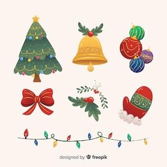 Colección de elementos navideños de estilo plano