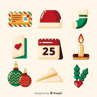 Colección de elementos navideños festivos de diseño plano