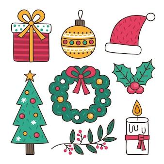 Colección de elementos navideños de ilustraciones dibujadas a mano
