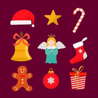Colección de elementos navideños planos