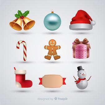 Colección de elementos navideños realistas
