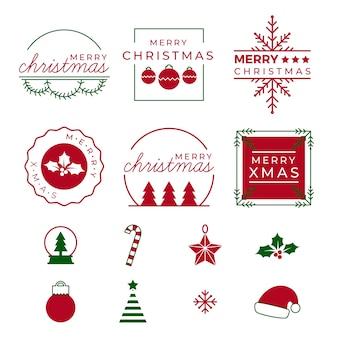 Colección de elementos navideños
