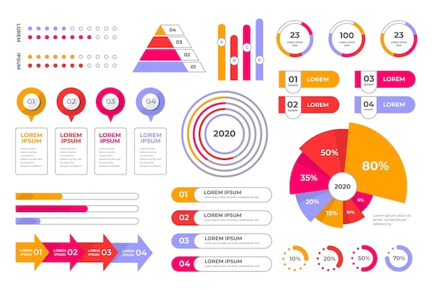 Colección de elementos de negocios de infografía