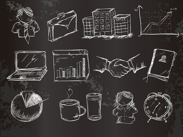 Colección de elementos de negocios en tiza