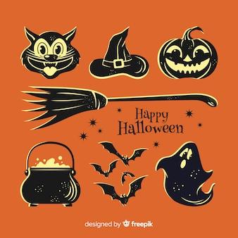 Colección de elementos negros de halloween
