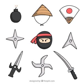 Colección de elementos de ninja dibujados a mano