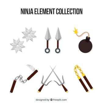 Colección de elementos de ninja con diseño plano