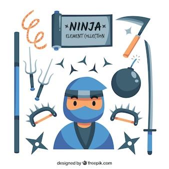 Colección de elementos ninja en diseño plano
