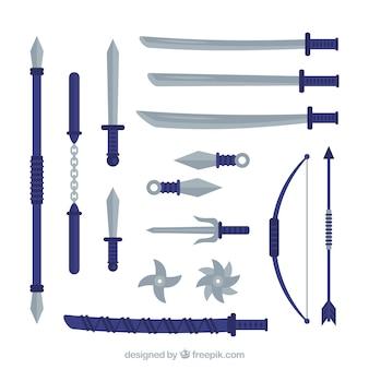 Colección de elementos ninja