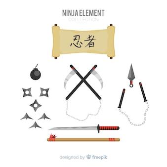 Colección de elementos de ninja
