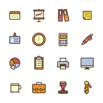 Colección de elementos de oficina