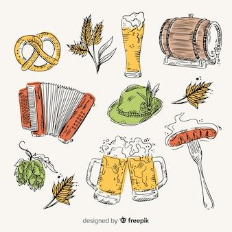 Colección de elementos de oktoberfest dibujados a mano