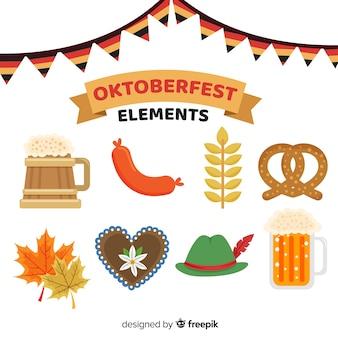Colección de elementos de oktoberfest en diseño plano