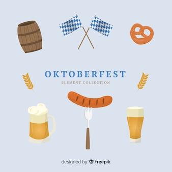Colección de elementos de oktoberfest de diseño plano