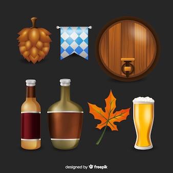 Colección de elementos de oktoberfest realista