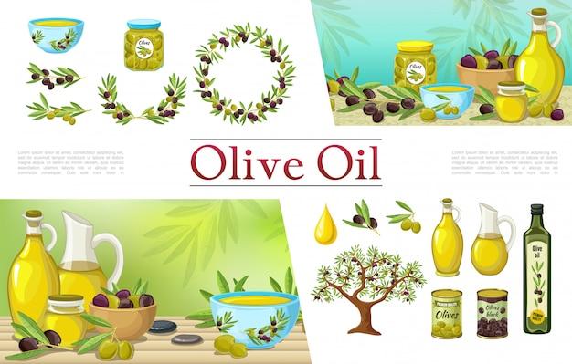 Colección de elementos de oliva natural de dibujos animados con botellas de aceite de oliva corona de ramas ramas de árbol tarros ollas y latas