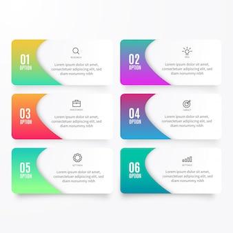 Colección de elementos de opciones de infografía