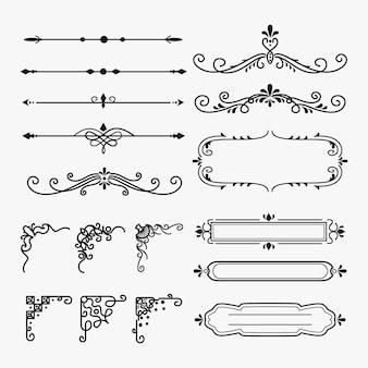 Colección de elementos ornamentales caligráficos