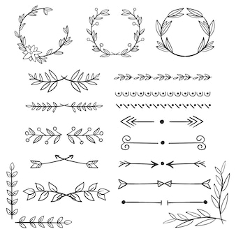 Colección de elementos ornamentales dibujados
