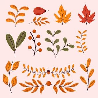 Colección elementos otoñales dibujados a mano