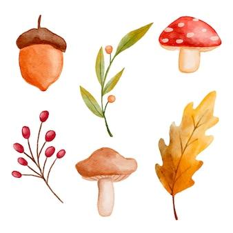 Colección de elementos de otoño en acuarela