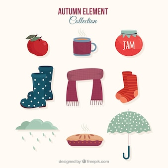 Colección de elementos de otoño con estilo moderno