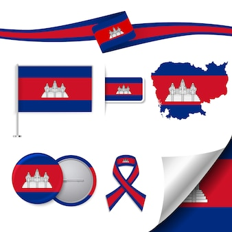 Colección de elementos de papelería con diseño de la bandera de camboya