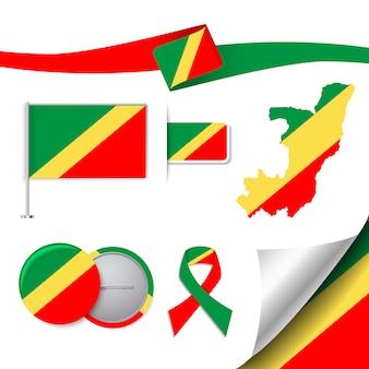 Colección de elementos de papelería con diseño de la bandera del congo