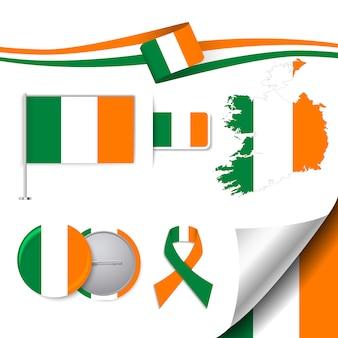 Colección de elementos de papelería con diseño de la bandera de irlanda