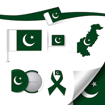 Colección de elementos de papelería con diseño de la bandera de pakistan