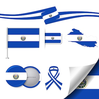 Colección de elementos de papelería con diseño de la bandera de el salvador