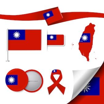 Colección de elementos de papelería con diseño de la bandera de taiwan