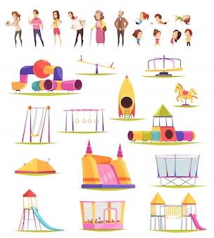 Colección de elementos de patio familiar vector gratuito