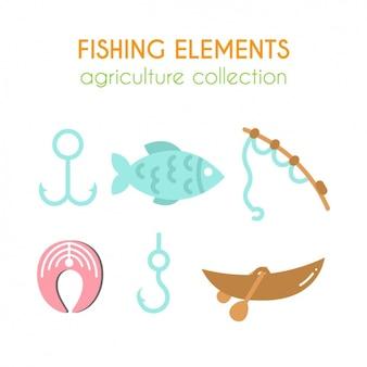 Colección de elementos de pesca