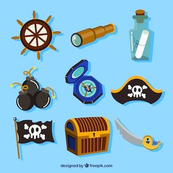 Colección de elementos piratas y brújula