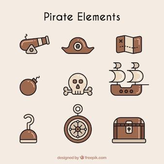 Colección de elementos de piratas