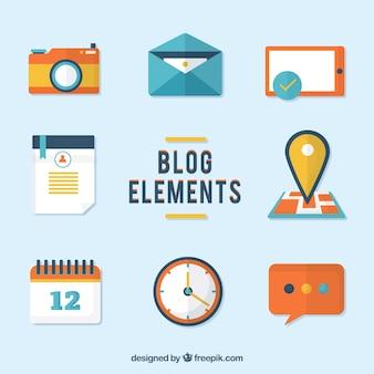 Colección de elementos planos de blog