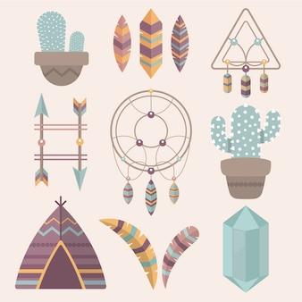Colección de elementos planos boho