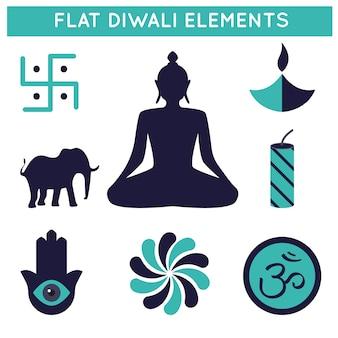 Colección de elementos planos de celebración de diwali