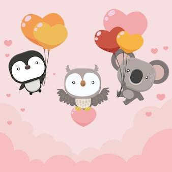 Colección de elementos planos del día de san valentín con linda ilustración de animales