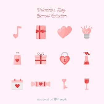 Colección elementos planos día de san valentín