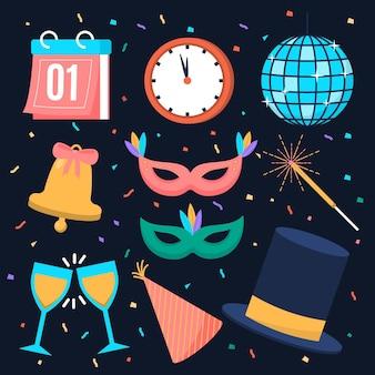 Colección de elementos planos de fiesta de año nuevo