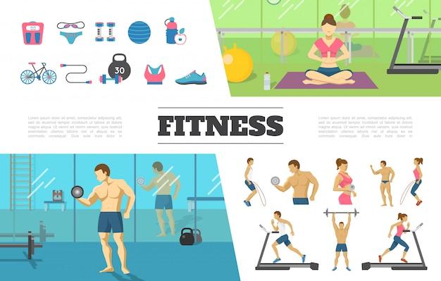 Colección de elementos planos de fitness con hombre y mujer haciendo ejercicios físicos en el peso de la bicicleta de la botella de pesas de gimnasia de bola de ropa deportiva de escala de gimnasio